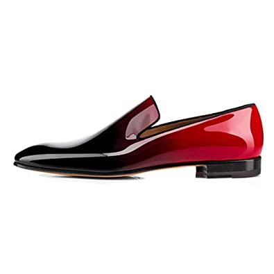 3217713ef2b Men s Patent Leather Dress Shoes Slip On Oxford Loafers Red US7