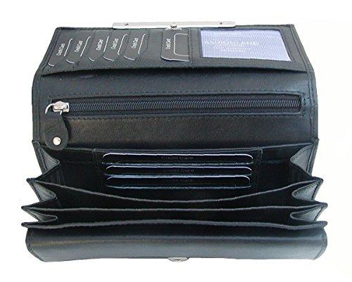 Dolphin exklusive große Damen Leder Börse schwarz, 9xCC, 3 Scheinfächer, EK-Chip, viele Fächer, ca. 16,5x11 cm