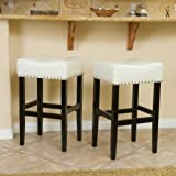 Cheap Best-selling Lennox Backless Leather Bar Stool, White, Set of 2