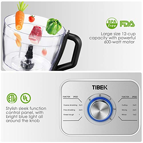 Food Processor 12-Cup, Multi-Function Food Processor 6 Main Functions with Chopper Blade, Dough Blade, Shredder, Slicing Attachments, 3 Speed 600W Powerful Processor, Silver by Tibek (Image #7)