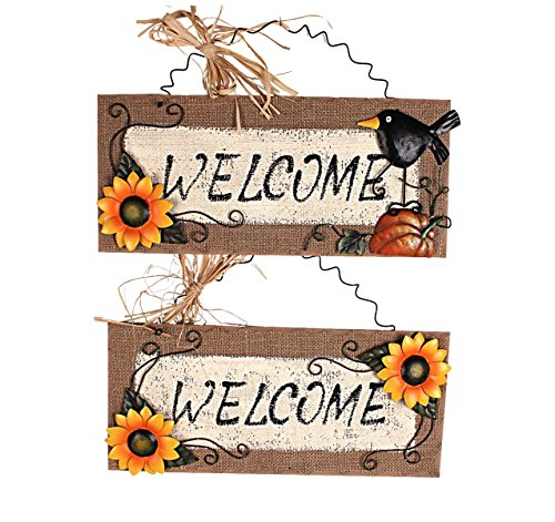 Y&K Decor Wood/Linen Sunflower Welcome Sign (Set of 2)