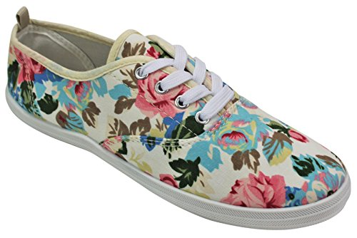 Ta En Promenad I Womens Fashion Duk Spets-up Sneaker - Utskrifter Och Mono Färger Vit / Rosor