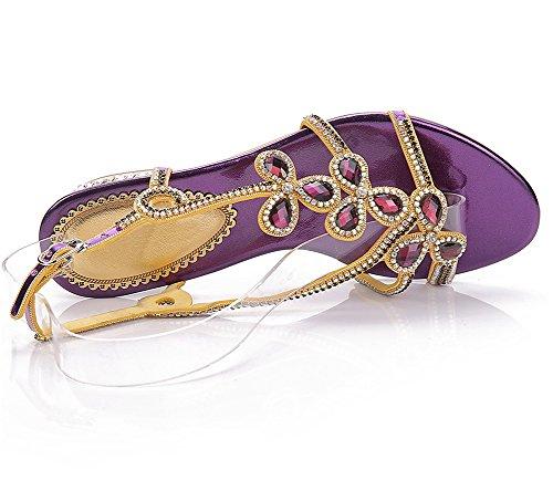 ZPL Women's Sandals Beach Purple Summer Ladies Flower Strap Bohemia Rhinestone Sweet T Shoes Flip Flops Flat rrwfPdq