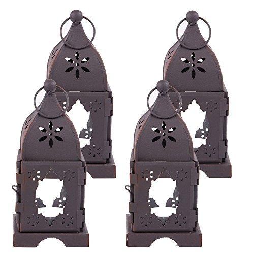 Premium Square Metal & Glass Mini Tealight Candle Holder Lanterns Set of 4