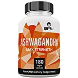 #7: EBYSU Ashwagandha Capsules - 180 Count - 1300mg Max Strength - Supplement Supports Stress Relief & Anti Anxiety Control Root Powder Pills