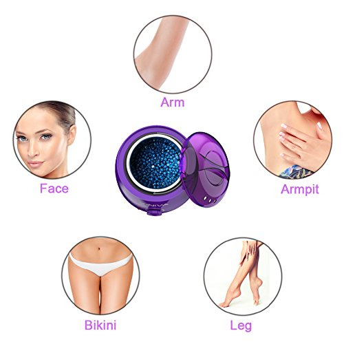 Wax Warmer, KINIVA Electric Hair Removal Waxing Warmer Kit, Professional Wax Heater Pot, Painless Hard Wax Melt Beans Kits, Melting Beads Applicators Sticks – Purple by KINIVA (Image #4)