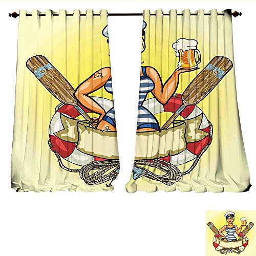 WilliamsDecor Window Curtain Drape Pin-Up Sexy Sailor Girl Lifebuoy with Captain Hat and Costume Glass of Beer Feminine Decorative Curtains for Living Room W84 x L108 Multicolor