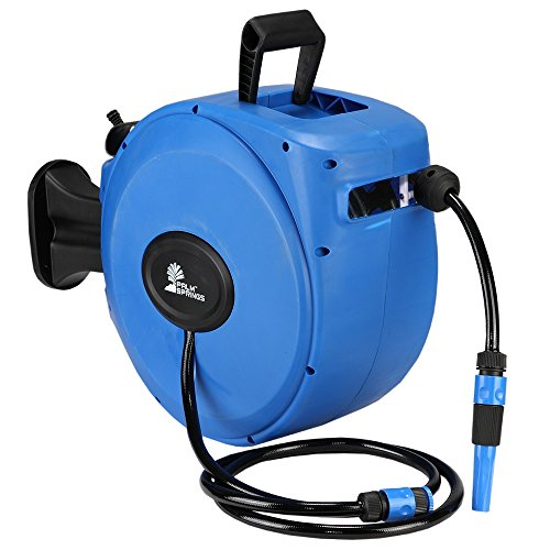 - Palm Springs 65ft Wall Mounted Garden Hose Reel - Full Swivel and Quick Auto Retract