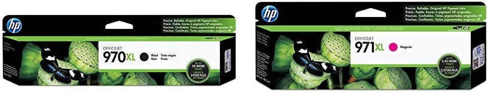 HP 970 | PageWide Cartridge High Yield | Black | CN625AM & 971 | PageWide Cartridge High Yield | Magenta | CN627AM