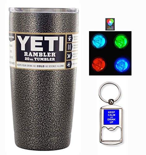 YETI Custom Powder Coated 20 oz (20oz) Rambler Tumbler with Lid, Bottle Opener Keychain and LED Multi-color Light (Textured Silver Vein)