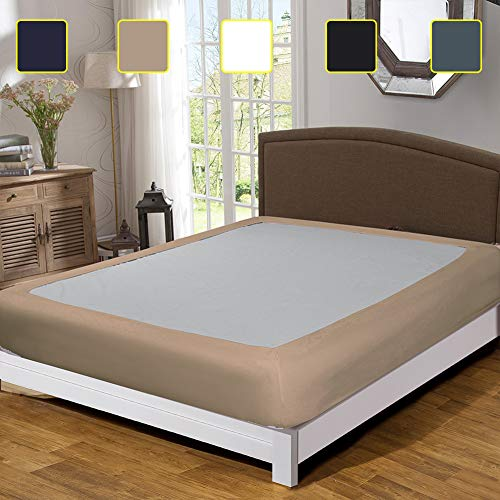 Twin Six Fashion Box Spring Cover with Plush Premium Elastic, Wrap Around Bed Skirt Cover Mattress Protector Encasement, Taupe King Size