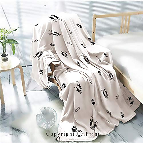 - Printed Throw Blanket Smooth and Soft Blanket,dog Seamless pattern french bulldog pug bone paw vector background repeat wallpaper isolated For Sofa Chair Bed Office Travelling Camping,Kid Baby,W31.5