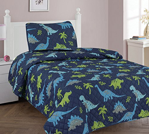 Elegant Home Dinosaurs Jurassic Park Design 2 Piece Twin Size Coverlet Bedspread Quilt Dark Blue with Green for Kids Teens Boys # Dinosaur Blue (Twin) (Dinosaur Quilt)