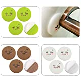 TOVOT 12 PCS Silicone Wall Protectors Self-Adhesive Door Handle Bumper Guard Stopper (Green/White/Brown)