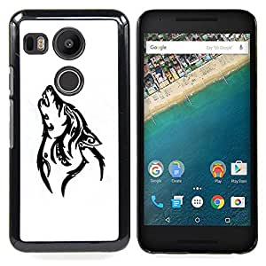 - Howl Wolf White Black Hound Dog - - Snap-On Rugged Hard Cover Case Funny HouseFOR LG Google Nexus 5X