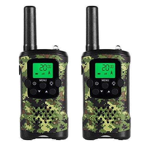 JAJA JJ-220 Mini Walkie Talkies Kids Army Toy Boys Girls FRS Two Way Radios 22 Channel 38 CTCSS Nature Exploration Toy Flashlight Camouflage (2 Pack) (Army Walkie Talkies)