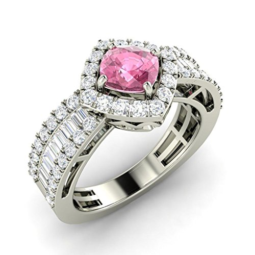 Tw Pink Cushion Cut Ring - TrioStar D/VVS1 Cushion-Cut Simulated Pink Sapphire CZ Ladies Halo Engagement Ring 1.75 CT Tw