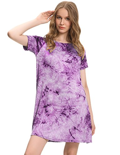 Plus Size Women's Tunic Tie Dye Boho Dresses Short Sleeve Cotton Wear Lilac ()