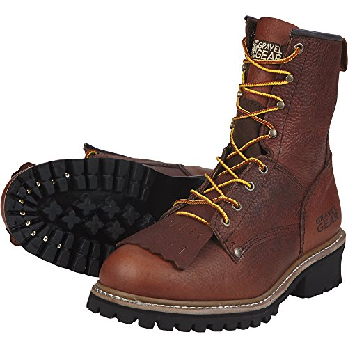 Brown Wide Gear 8 Men's Logger 8in Size Gravel Boots wXgF8gx