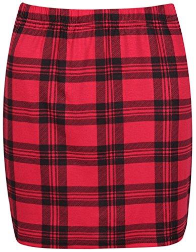 Nuevas mujeres Mini faldas en muchos PRINTS, Mini falda, talla UK tamaño 8–�?4 Tartán Rojo