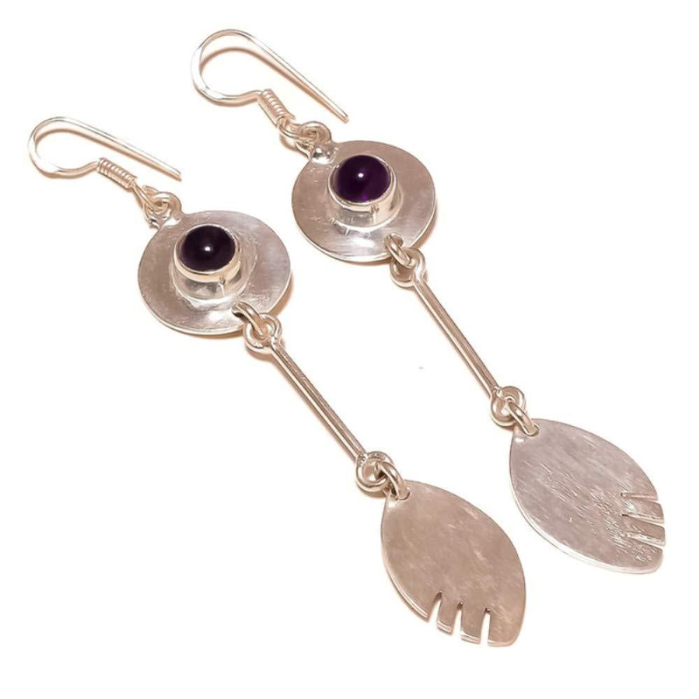 jewels house Blue Amethyst Cabochon Gemstone Silver Plated Handmade Long Drop Dangle Earrings
