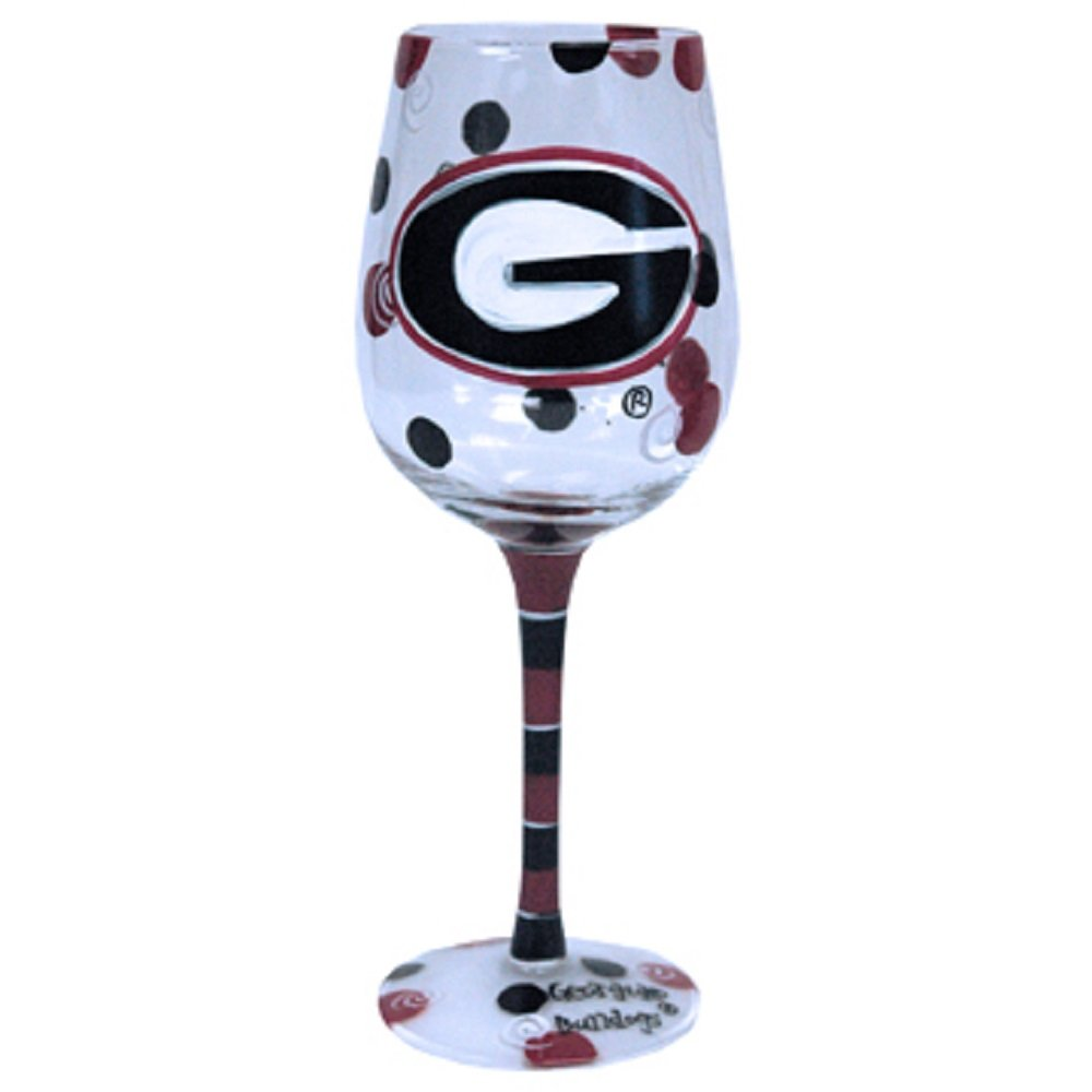 Jenkins Enterprises Georgia Bulldogs Red and Black Hand Painted Wine Glass