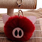 JEWH Toys for Girls / Children Birthday Colorful Soft Plush Stuffed Animal - Backpack Pig Keychain Pendant Dolls ( Wine Red)