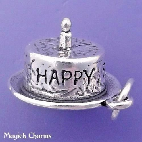 - 925 Sterling Silver 3-D Babys 1st Happy Birthday Cake w Candle Charm Jewelry Making Supply, Pendant, Charms, Bracelet, DIY Crafting by Wholesale Charms