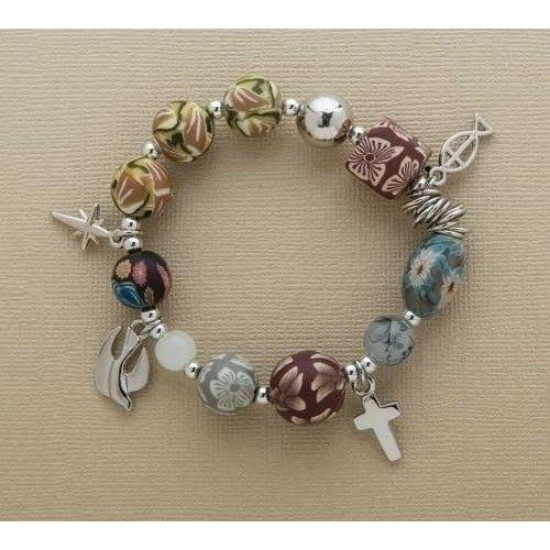 (Story of Jesus Christ Clay Floral One Size Adult's Stretch Fashion Bracelet)