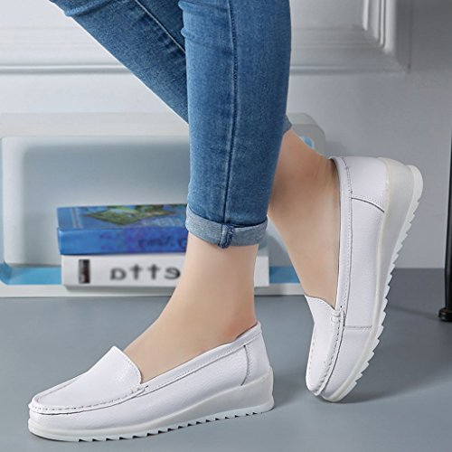 Taille Blanche Les Plates Hwf Ressort Molles Travail D'hôpital Femme Blanc L'infirmière De Blanc couleur 40 Respirantes Soulève Chaussures wZW0HxPnF