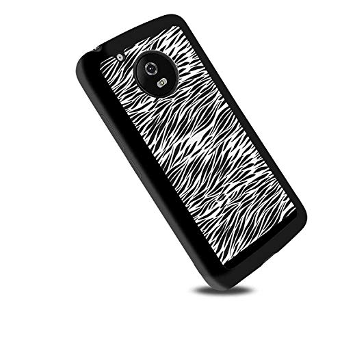(TPU Case Compatible Moto G6 (2018) [5.7-Inch] Zebra Print Black and White Hand Drawn African Animal Skin Camouflage Illustration Charcoal Grey White )