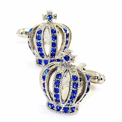 Men's Wedding Royal Cufflinks Novelty Rare Fancy Crown Cuff Buttons with Gift Bag Blue Royal Crystal Cufflinks