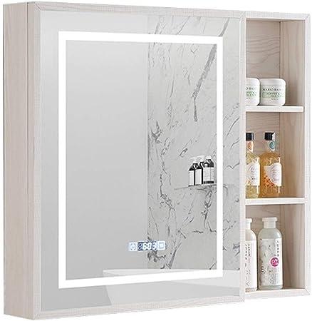 Armarios con espejo Espejo De Baño Gabinete De Aluminio del Espacio Inteligente Táctil Dormitorio Anti-vaho Espejo Armario De Pared LED Luces (Color : Blanco, Size : 60 * 13 * 70cm): Amazon.es: Hogar