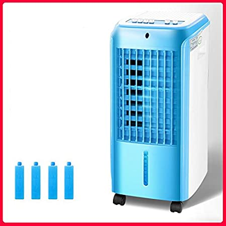 Summer home Compact Portable Air Conditioner Fan, 4 Caster Wheels Portable Dehumidifier Converts Hot Air to Cool Air with Remote Control-Blue-mechanical Quality Good