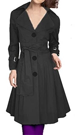 71a75d7e30e Angel Lily Black Oversized Belted Skirted Trench Coat jacket YJ072 plus size  10x