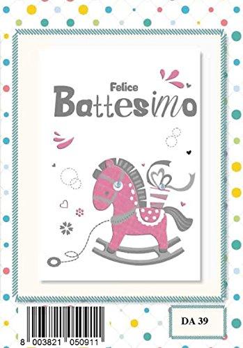 Tarjeta Felicitación Espejo bautizo niña caballo de balancín ...