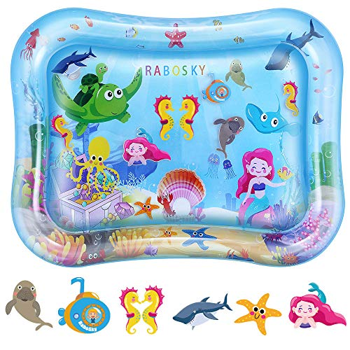 Rabosky Baby & Infant Toys Tummy Time Water Play Mat, Inflatable Sensory Newborn Toys, Perfect Baby Toy for 3 4 6 9 to 12 Months Old Boy or Girl Gift, 27.5