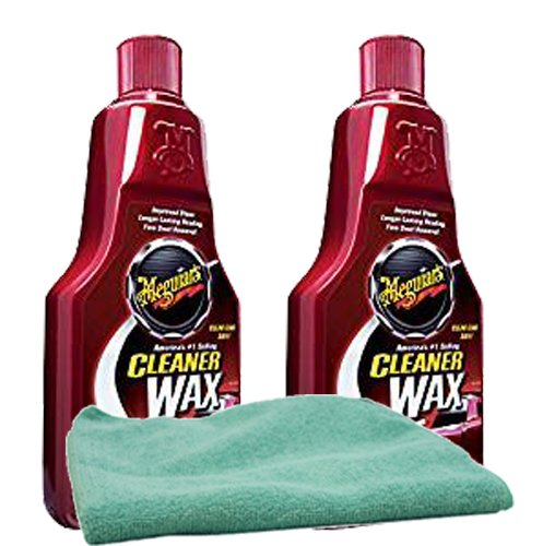 Meguiar's Liquid Cleaner Wax (16 oz.) Bundle with Microfiber Cloth (3 Items)