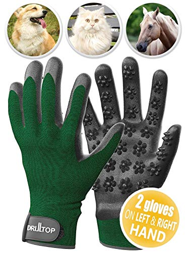 DrillTop - Pet Grooming Gloves Set-of-2 for Dogs, Cats, Pets - Fast and Easy Hair Remover for Reducing Hair in Your Home, Car, Bed - Deshedding Gloves for Smoother Fur and a Happier Pet