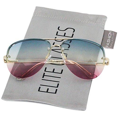 Elite Gradient Oceanic Lens Oversized Rimless Metal Frame Unisex Aviator Sunglasses (Blue-Yellow-Pink, - Blue Gradient Dark Lenses