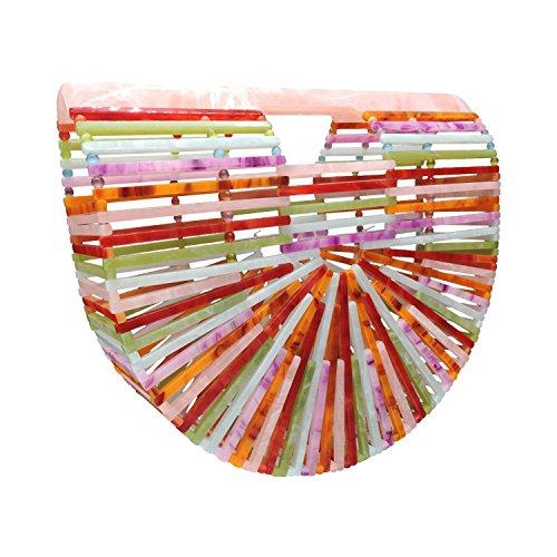 (Beauty YaYa Womens Ark Bamboo/Acrylic Clutch Handbag Large Tote Bag Beach Bag (Rainbow colored))
