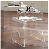GHP Indoor/Outdoor 3 Piece Set of Clear Acrylic Lucite Nesting Tables