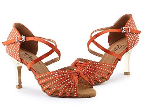 6 B Wedding Womens M Doris Satin High Orange Ballrom Latin Shoes Evening Dance Rhinestone Hot Fix US Heel Shoes Sandals aTzqdwT