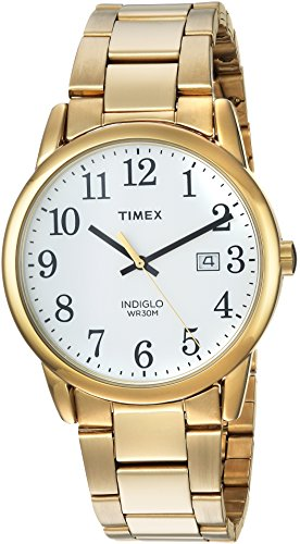 Timex Men's TW2R23600 Easy Reader Gold-Tone/White Stainless Steel Bracelet Watch (Gold Tone White Dial Watch)