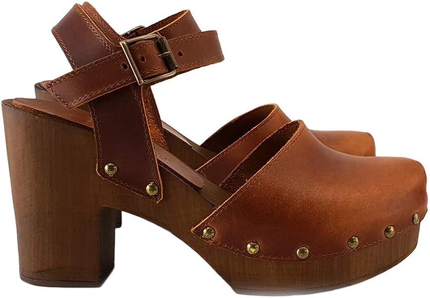 4b7e1a6e75cf4 kiara shoes Highest Brown/Black Swedish Leather Clogs -MY-126 (3.5 ...