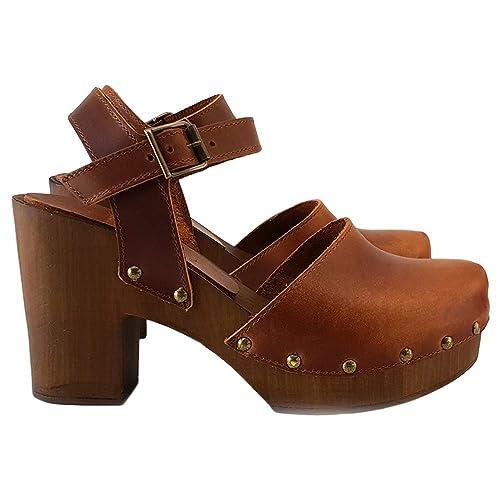 Zapatos holandeses - Cuero Marròn/Negro - MY-126: Amazon.es ...