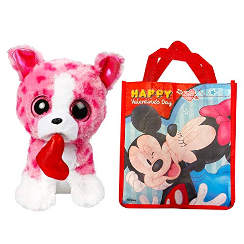 Ty Valentines Day Beanie Boos Set -- Bundle Includes Ty Pink Romeo Dog in Mickey Minnie Mouse Valentine Gift Bag