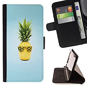 DEVIL CASE - FOR HTC One M8 - Fruit Design Cool Pineapple - Style PU Leather Case Wallet Flip Stand Flap Closure Cover
