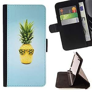BullDog Case - FOR/Samsung Galaxy S4 Mini i9190 / - / Fruit Design Cool Pineapple /- Monedero de cuero de la PU Llevar cubierta de la caja con el ID Credit Card Slots Flip funda de cuer