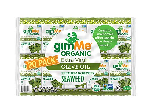 gimMe Snacks - Organic Roasted Seaweed - Extra Virgin Olive Oil - (.17oz) - (Pack of 20) - non GMO, Gluten Free, Keto, Paleo - Healthy on-the-go snack for kids & adults